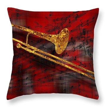Jazz Trombone Throw Pillow by Jack Zulli