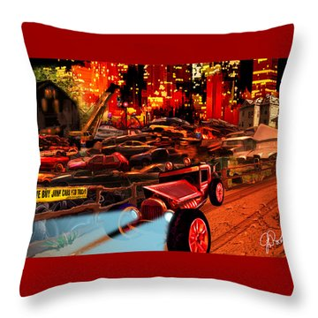 Jed Cooper Junk Yard Throw Pillow by Gerry Robins