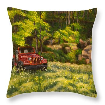 Jeep By The Bluff Throw Pillow by Janet Felts