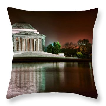 Jefferson Memorial At Night Throw Pillow by Olivier Le Queinec