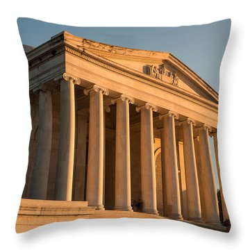 Jefferson Memorial Sunset Throw Pillow by Steve Gadomski