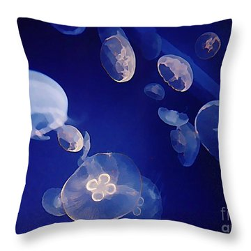Jelly Fish Throw Pillow by John Malone