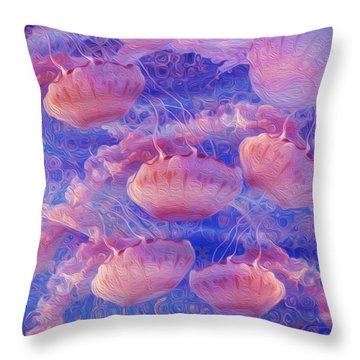Jellyfish Throw Pillow by Jack Zulli