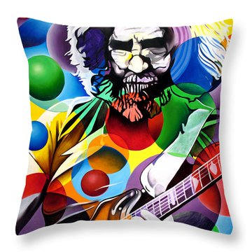 Jerry Garcia In Bubbles Throw Pillow by Joshua Morton