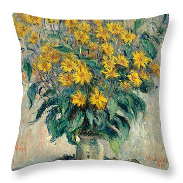 Jerusalem Artichoke Flowers Throw Pillow by Claude Monet