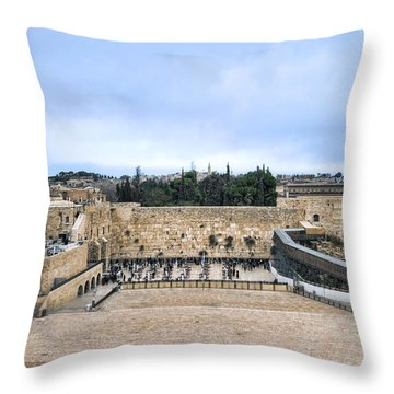 Jerusalem The Western Wall Throw Pillow by Ron Shoshani
