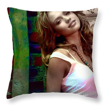 Jessica Alba Throw Pillow by Marvin Blaine