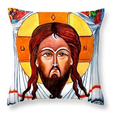 Jesus Christ Mandylion Icon Throw Pillow by Ryszard Sleczka