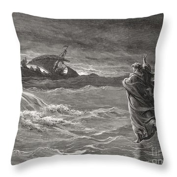 Jesus Walking On The Sea John 6 19 21 Throw Pillow by Gustave Dore