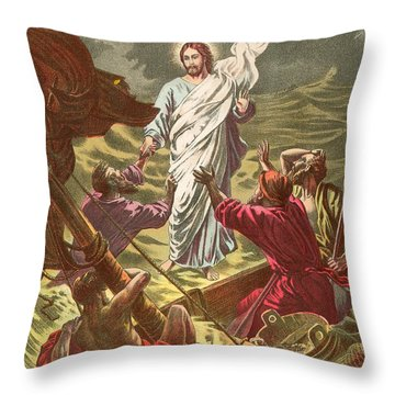 Jesus Walking On The Water Throw Pillow by Anonymous