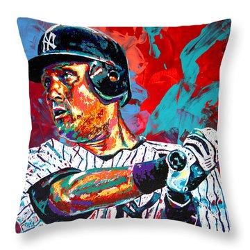 Jeter At Bat Throw Pillow by Maria Arango