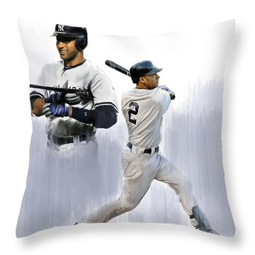 Jeter V Derek Jeter Throw Pillow by Iconic Images Art Gallery David Pucciarelli