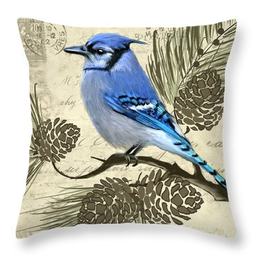 Jeweled Blue Throw Pillow by Lourry Legarde