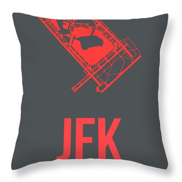 Jfk Airport Poster 2 Throw Pillow by Naxart Studio