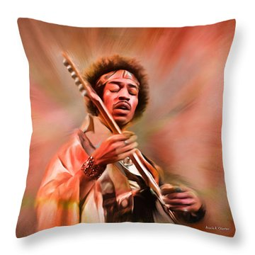 Jimi Hendrix Electrifying Guitar Play Throw Pillow by Angela A Stanton