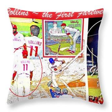 Throw Pillow featuring the digital art Jimmie Rollins Farewell by A Gurmankin