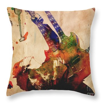 Jimmy Page - Led Zeppelin Throw Pillow by Ryan Rock Artist