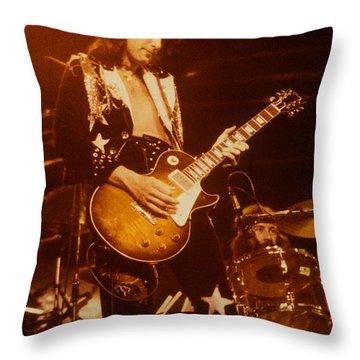 Jimmy Page 1975 Throw Pillow by David Plastik