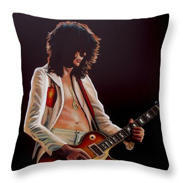 Jimmy Page In Led Zeppelin Painting Throw Pillow by Paul Meijering