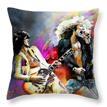 Jimmy Page And Robert Plant Led Zeppelin Throw Pillow by Miki De Goodaboom