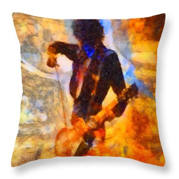 Jimmy Page Playing Guitar With Bow Throw Pillow by Dan Sproul