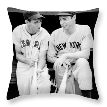 Joe Dimaggio And Ted Williams Throw Pillow by Gianfranco Weiss