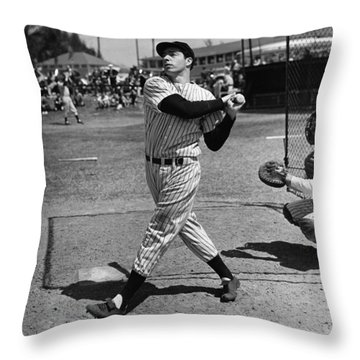 Joe Dimaggio Hits A Belter Throw Pillow by Gianfranco Weiss