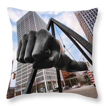 Joe Louis Fist - In Your Face - Version 2 Throw Pillow by Gordon Dean II