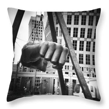 Joe Louis Fist Statue In Monochrome Throw Pillow by Gordon Dean II