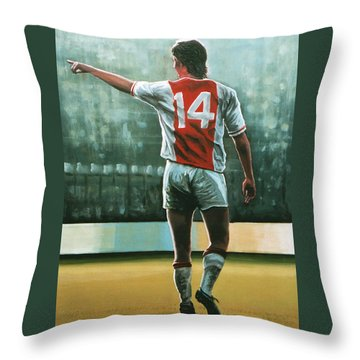 Johan Cruijff Nr 14 Painting Throw Pillow by Paul Meijering