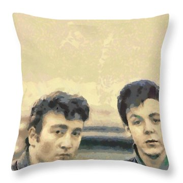 John And Paul When It All Started Throw Pillow by Paulette B Wright