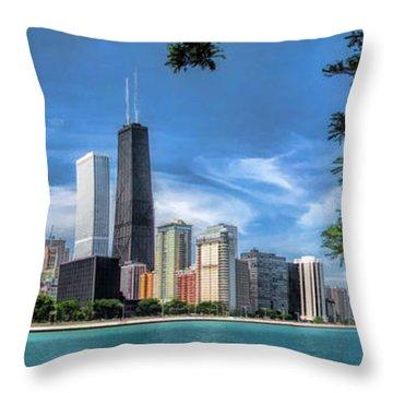 John Hancock Chicago Skyline Panorama Throw Pillow by Christopher Arndt