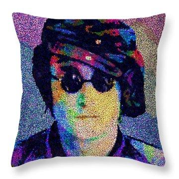 John Lennon Mosaic Throw Pillow by Jack Zulli