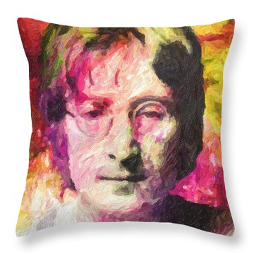 John Lennon Throw Pillow by Taylan Soyturk