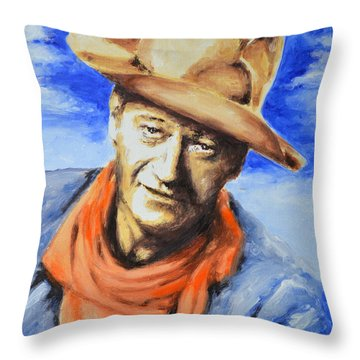 John Wayne Throw Pillow by Victor Minca