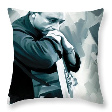 Johnny Cash Artwork 3 Throw Pillow by Sheraz A