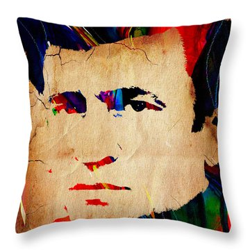 Johnny Cash Collection Throw Pillow by Marvin Blaine