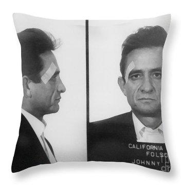 Johnny Cash Folsom Prison Throw Pillow by David Millenheft