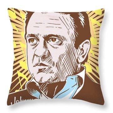 Johnny Cash Pop Art Throw Pillow by Jim Zahniser