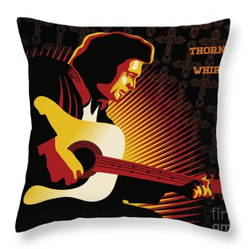 Johnny Cash Thorntree In A Whirlwind Throw Pillow by Sassan Filsoof