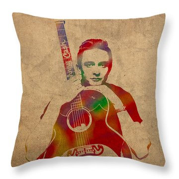 Johnny Cash Watercolor Portrait On Worn Distressed Canvas Throw Pillow by Design Turnpike