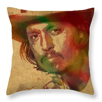 Johnny Depp Watercolor Portrait On Worn Distressed Canvas Throw Pillow by Design Turnpike