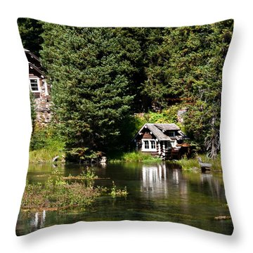 Johnny Sack Cabin Throw Pillow by Robert Bales