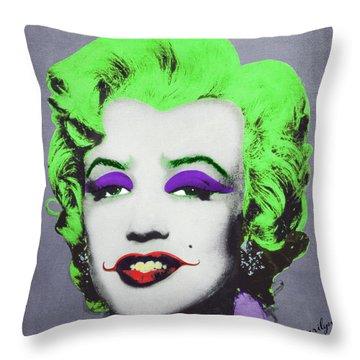 Joker Marilyn Throw Pillow by Filippo B