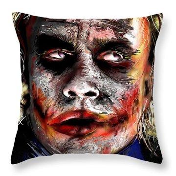 Joker Painting Throw Pillow by Daniel Janda