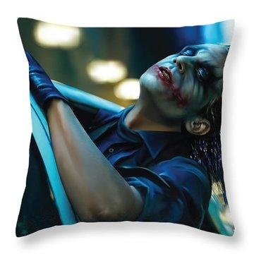 Joker Throw Pillow by Veronika Limonov