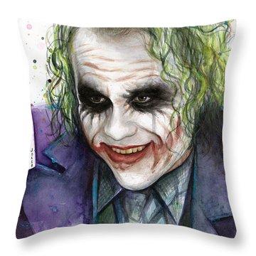 Joker Watercolor Portrait Throw Pillow by Olga Shvartsur