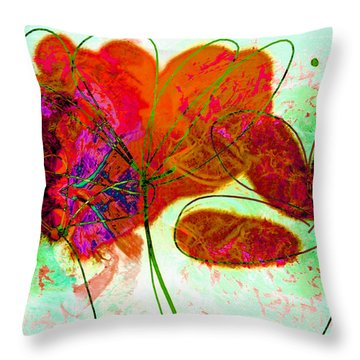 Joy Flower Abstract Throw Pillow by Ann Powell