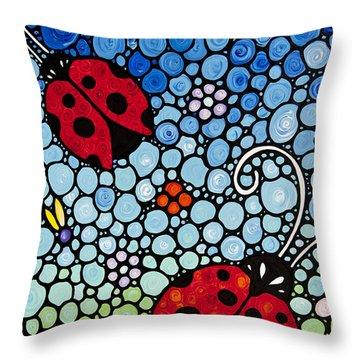 Joyous Ladies Ladybugs Throw Pillow by Sharon Cummings