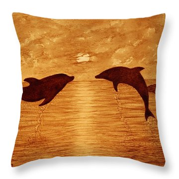 Jumping Dolphins At Sunset Throw Pillow by Georgeta  Blanaru